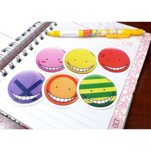 Set De 6 Stickers Circulares de Assassination Classroom