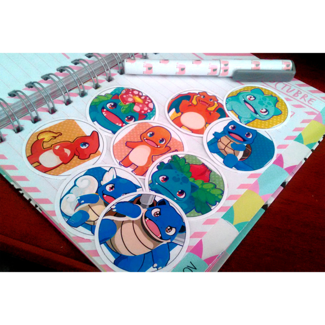 Set De 9 Stickers Circulares De Pokemon