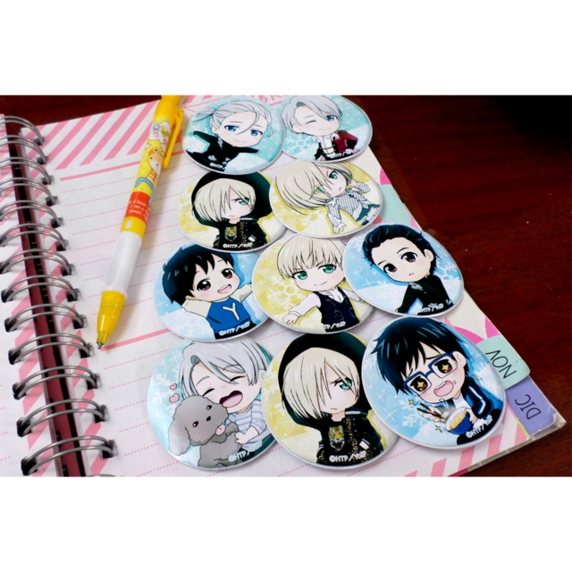 Set De 9 Stickers Circulares De Yuri On Ice
