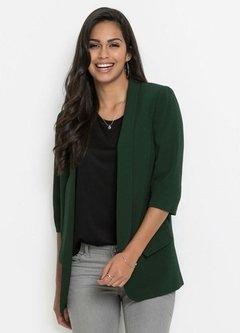 a6c92d26c7 Blazer Alongado Mangas Franzidas Verde Escuro
