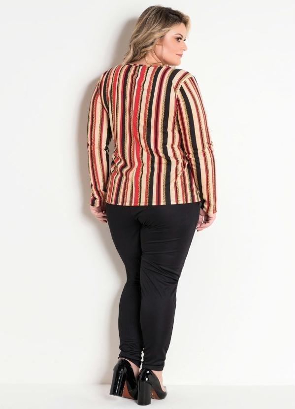 49d768fdd Blusa com Fivela Plus Size Listrada - Comprar em Enough