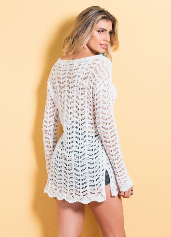 14a9805f7 ... Blusa de Tricô com Amarração Branca - comprar online ...
