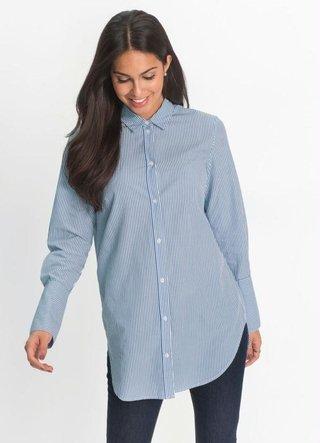 Camisa Alongada Listrada Azul