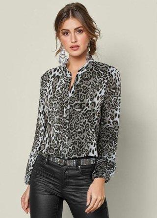 Camisa Estampa Animal Print Preto Onça