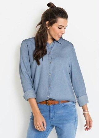 Camisa Jeans Alongada Azul Claro