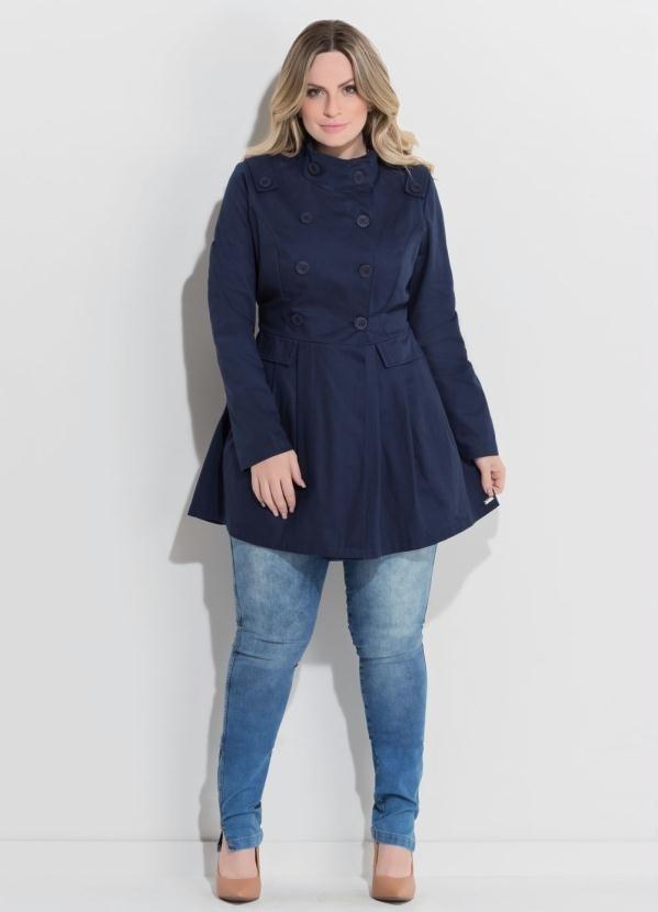 fecda2b55 Casaco Acinturado Marinho Plus Size  Casaco Acinturado Marinho Plus Size -  comprar online