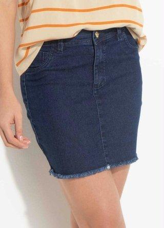 Saia Jeans com Barra Desfiada