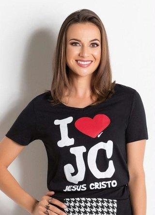 T-Shirt com Estampa Frontal Preta