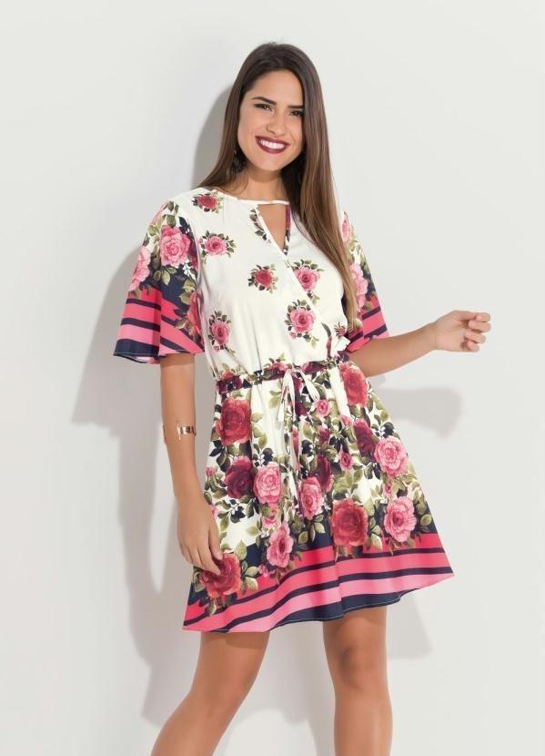 6e66f97baa Vestido Floral com Barrado de Listras - Enough