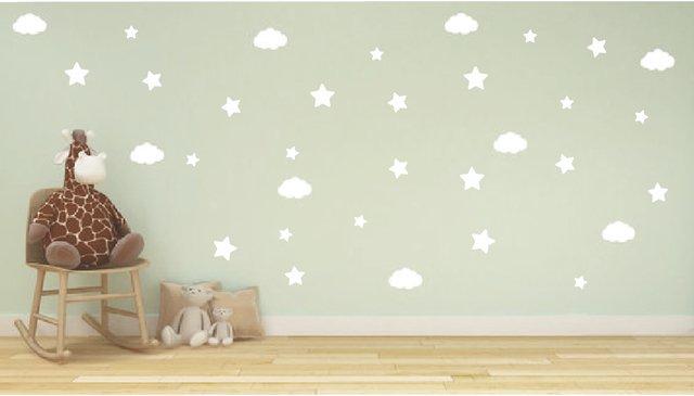 Vinilo Para Pared Estrellas Corazones Nubes