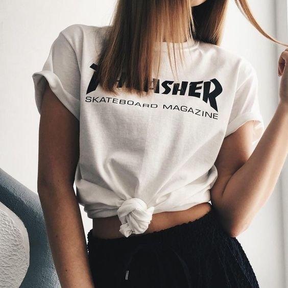 0a24f4dc6bb09 Camiseta Thrasher Primeira Linha Skateboard Magazine Feminina