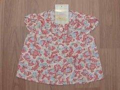 Camisa Floral Para Bebê Rosa