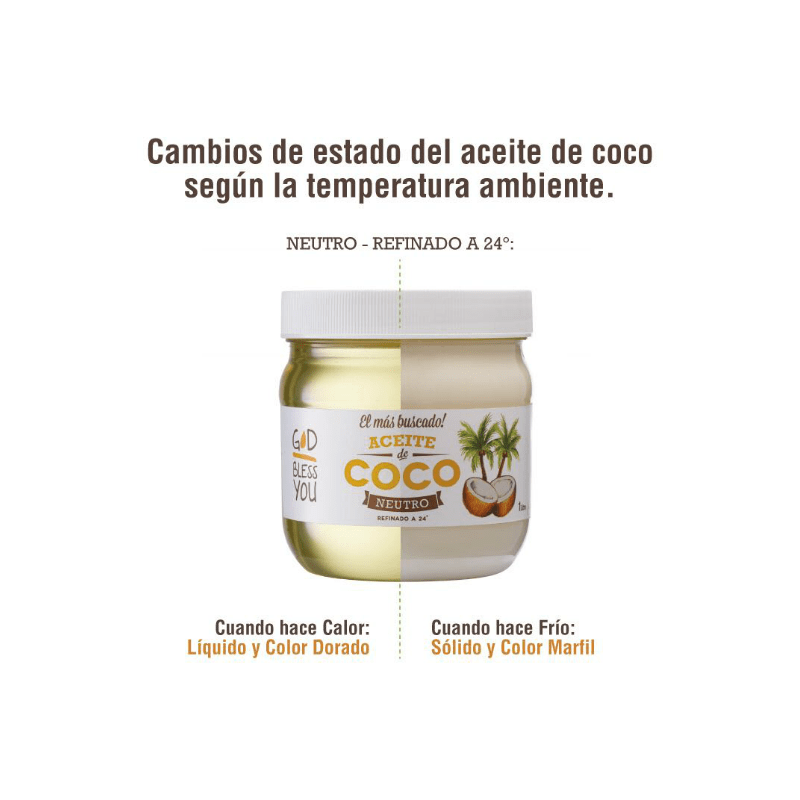 Aceite de Coco Neutro 225 ml God Bless You en internet