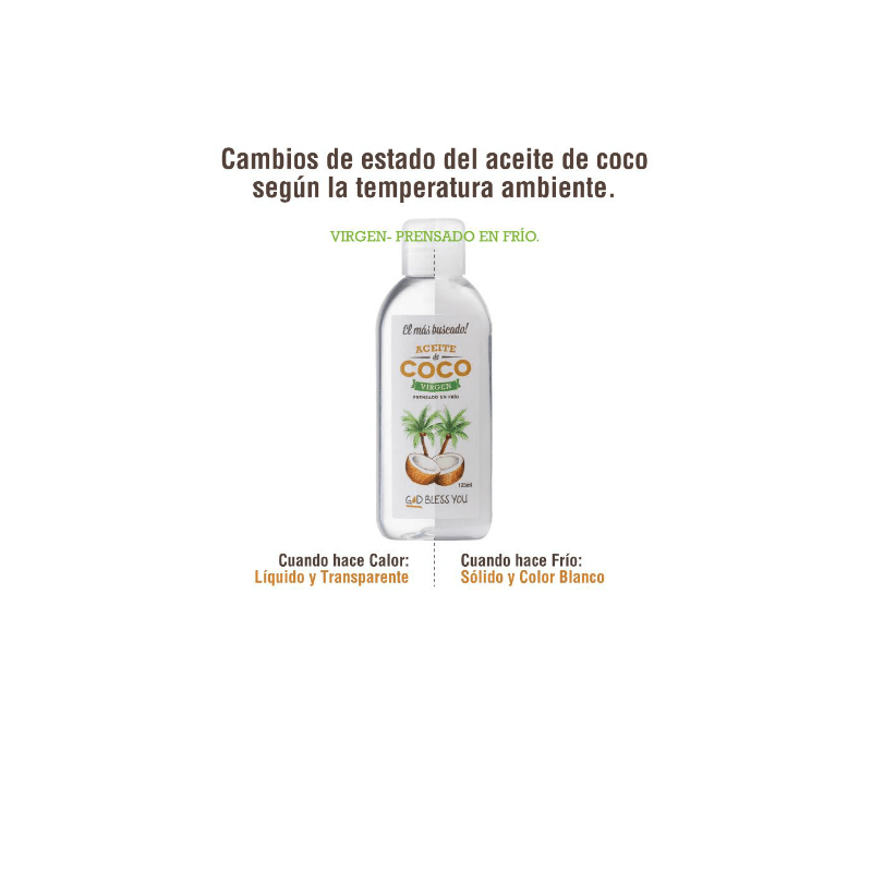 Aceite de Coco Virgen Premium 125 ml God Bless You en internet