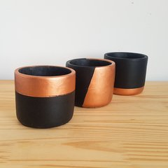Kit Cachepot Preto e Cobre 3 pcs na internet
