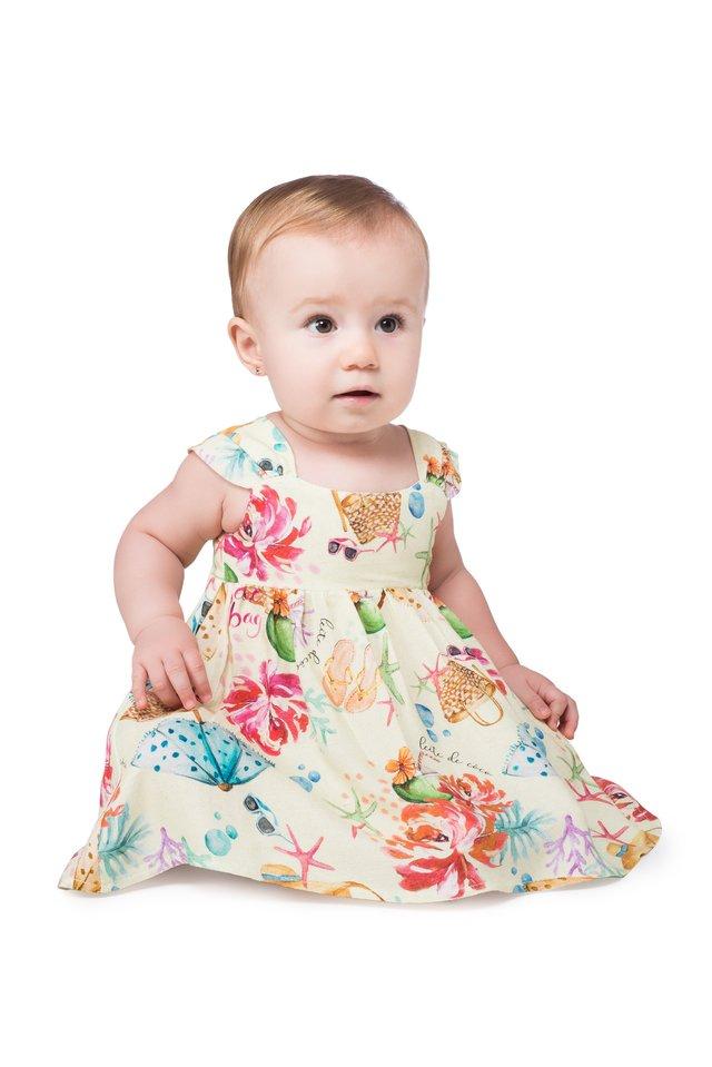 87a849e83e Vestido com Calcinha Baby Praia e Sol - Leite de Côco