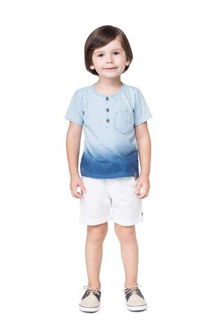 9132294d7c Conjunto Camiseta Lavada Azul e Shorts em Sarja Branco - Leite de Côco