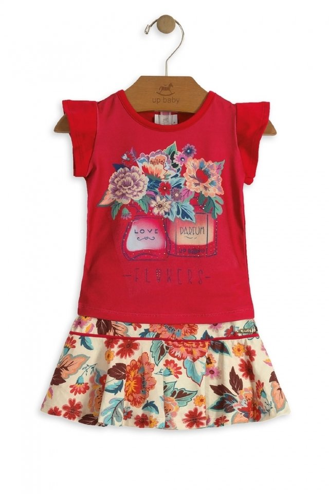 4b970eaac5 Conjunto Blusa e Saia com Short Flowers Vermelho - Up Baby - comprar online  ...