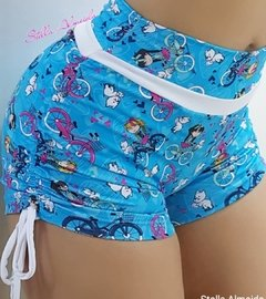 Short plush up franzido no bumbum bike Blue - comprar online