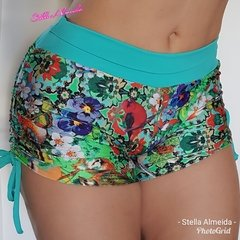 Short plush up franzido no bumbum flowers - comprar online