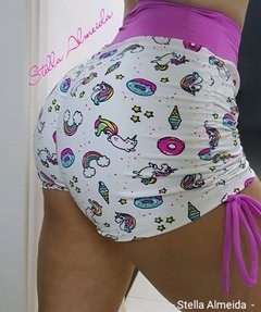 Short plush up franzido no bumbum unicórnio - comprar online
