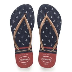 Chinelo Havaiana Slim Nautical Marinho Ancora - Original