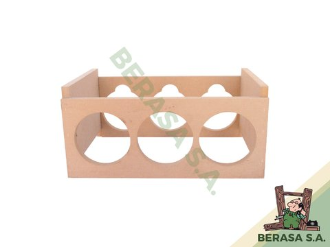 Bodega apilable p/ 3 botellas MDF
