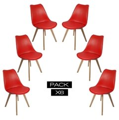 Pack de 6 Sillas Eames Tulip Cross Wood Rojas