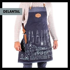 COMBO DELANTAL+SET ASAPARRILLERO +TABLA CORTE