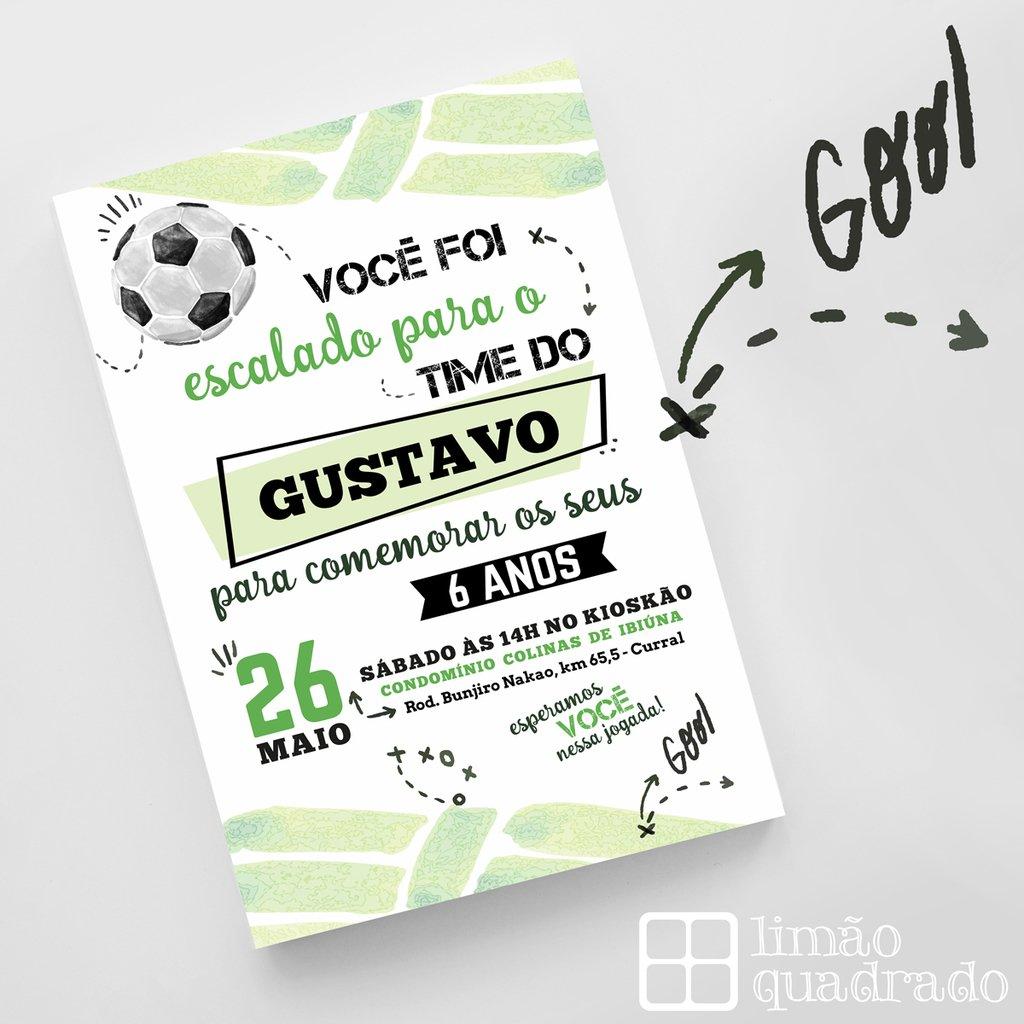 Convite Digital Futebol Comprar Em Limão Quadrado