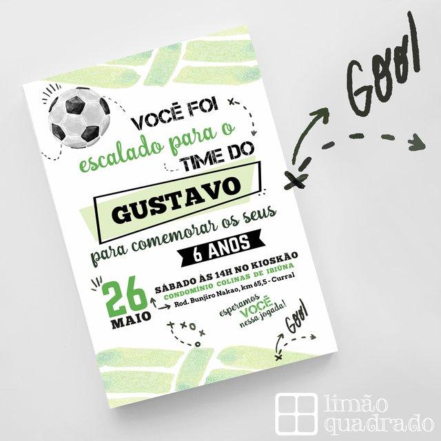 Convite Digital - Futebol - Comprar em Limão Quadrado