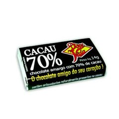 Chocolate 70% Cacau Natural 14g Doce Vida Display 24 un - comprar online