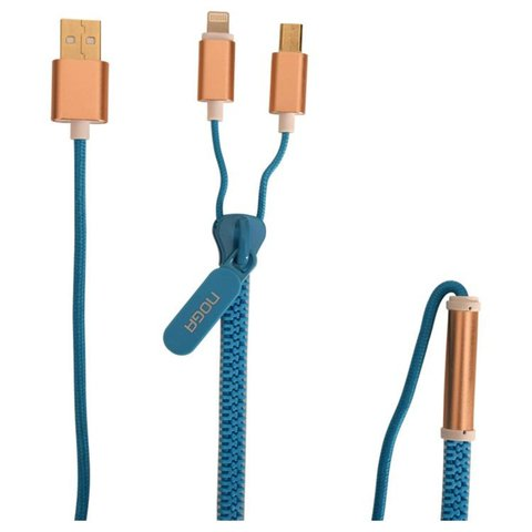 CABLE ZIPPER USB A MICRO USB Y IPHONE NOGANET USB-Z09