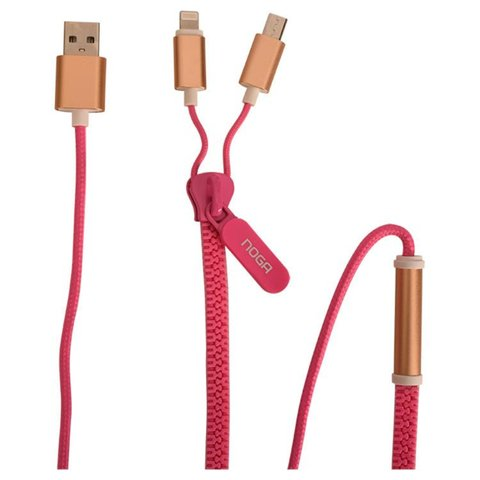 CABLE ZIPPER USB A MICRO USB Y IPHONE NOGANET USB-Z09 - Depot Centro