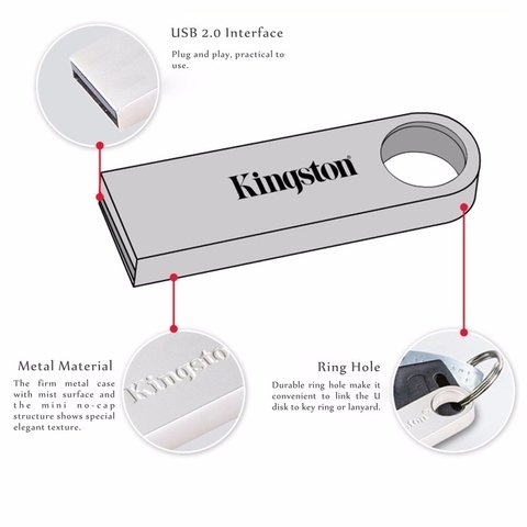 PENDRIVE KINGSTON 32GB USB 2,0 DTSE9 G2 METALICO - comprar online