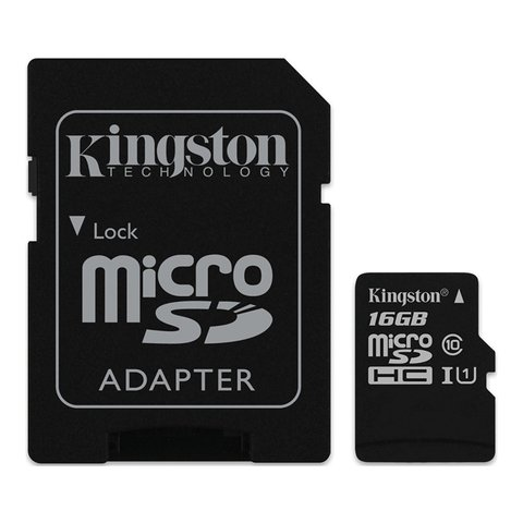 MICRO SDHC KINGSTON 16GB CON ADAPTADOR CLASE 10 - comprar online