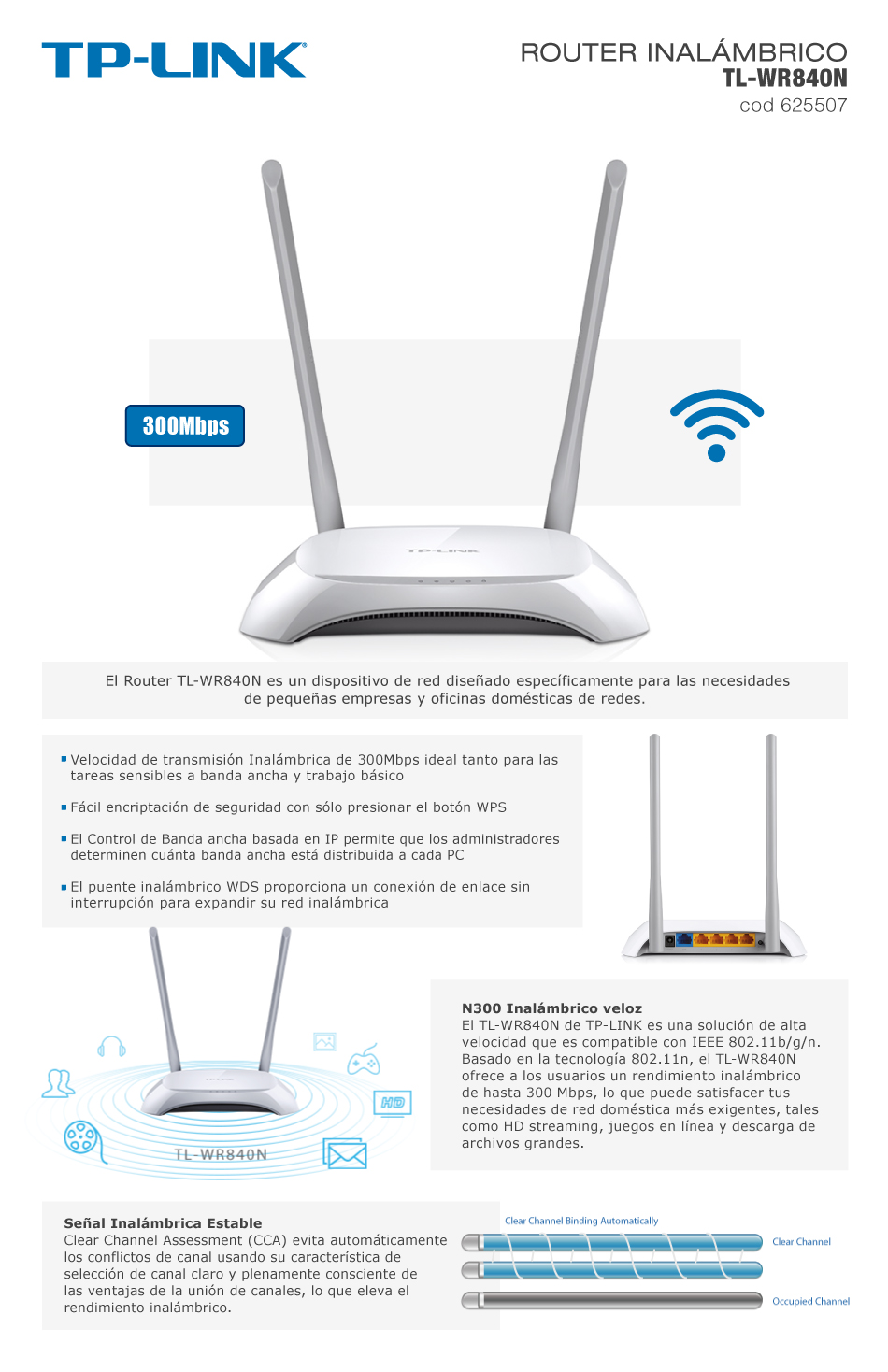 Router Tp Link Tl Wr840n Wireless 300mbps Ant Interna N Antena Tweet