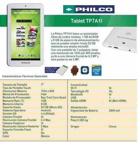 Philco Tp7a1l Tablet 7 Android 4.4 8gb 1gb Ram+funda Tucuman en internet