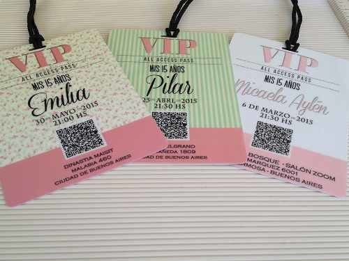 Invitaciones 15 Años Tarjetas Credenciales Vip