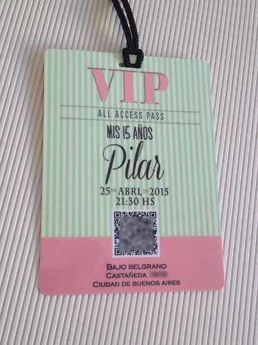Invitaciones 15 Años Tarjetas Credenciales Vip Plastificada
