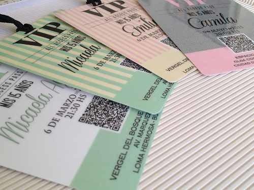 Tarjetas Invitaciones 15 Años Vip Credenciales Pastificadas