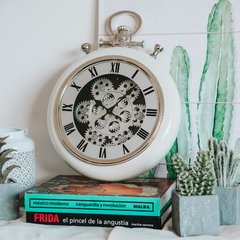 RELOJ METAL DE PARED ENGRANAJE BLANCO 40 CM TOTAL