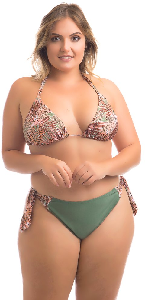 BIQUÍNI CORTININHA MIKONOS  PLUS SIZE ANIMAL PRINT ACQUA ROSA