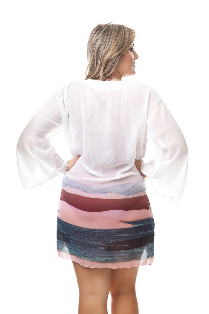 eba80a938 Saída de Praia Plus Size Catarina. Saída de praia estilo vestido  confeccionada no tecido chiffon