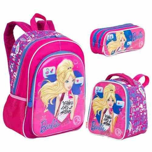 3a0b7f71ac Kit Mochila Barbie 3d 17x + Lancheira + Estojo Original Rosa