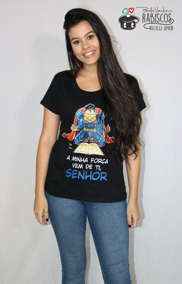 Camisa Superman - Adulto Feminino Preto na internet