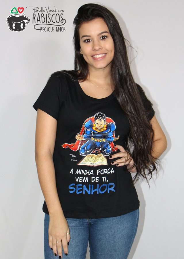 Camisa Superman - Adulto Feminino Preto