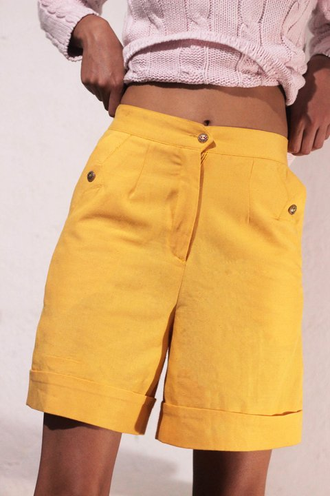 Shorts Alfaiataria Yellow Newsport