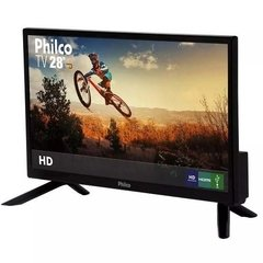 Tv Led 28 Hd Com Hdmi E Conversor Preta Philco