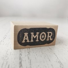 "Sello decorativo en bloque de madera, diseño ""Amor"""